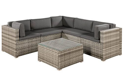 ArtLife Polyrattan Lounge Sitzgruppe Nassau beige grau mit Bezuegen in Dunkelgrau 500x330 - ArtLife Polyrattan Lounge Sitzgruppe Nassau beige-grau mit Bezügen in Dunkelgrau
