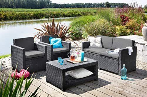 Koll Living Lounge Set Korsika in anthrazit inkl. Sitzauflagen 500x330 - Koll Living Lounge Set Korsika in anthrazit, inkl. Sitzauflagen & Rückenkissen, langlebiger & wetterfester Kunststoff in Rattanoptik, 2 Sessel + 1 Sofa + Tisch