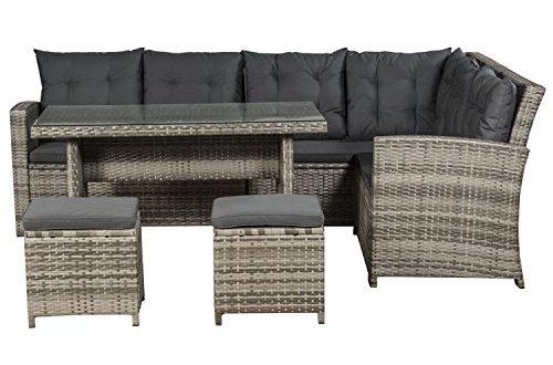 ArtLife Polyrattan Sitzgruppe Lounge Santa Catalina beige grau dunkelgraue Bezuege 500x330 - ArtLife Polyrattan Sitzgruppe Lounge Santa Catalina beige-grau | dunkelgraue Bezüge | Gartenmöbel-Set mit Ecksofa, Hocker & Tisch