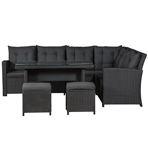 ArtLife Polyrattan Sitzgruppe Lounge Santa Catalina schwarz | dunkelgraue Bezüge | Gartenmöbel-Set mit Ecksofa, Hocker & Tisch