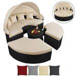 BB Sport 13-teilige Polyrattan Lounge-Muschel mit aufklappbarem Sonnendach Garten Lounge inkl. Auflagen mit Klettleisten und Kissen, Farbe:Titan-Schwarz/Sandstrand