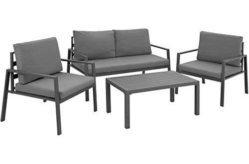TecTake 403202 Aluminium Lounge Sitzgruppe für Garten und Balkon, wetterfest, 2 Sessel 1 Sofa 1 Tisch Set, inkl. Wasserabweisende Sitz- und Rückenkissen, grau